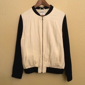 Old Navy Cream And Black Bomber Jacket Size L